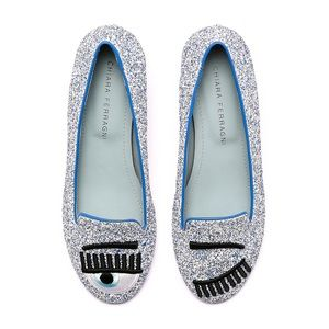 Flirting ballerinas Glitter Loafers - Silver/ Blue